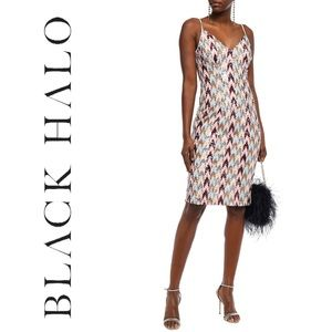 • Black Halo Sequined Tulle Dress